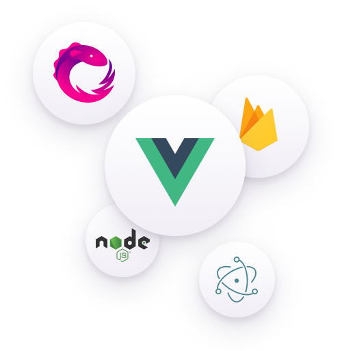 Image of Vue.js Logo and related technologies